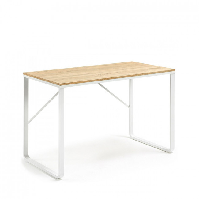 Bureau design structure métal blanc plateau bois Talbot