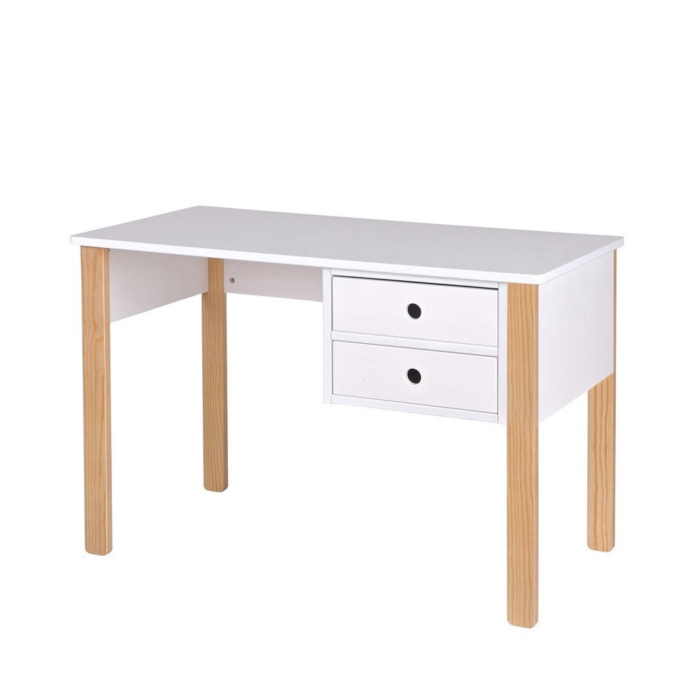 Bureau enfant pin massif blanc tipi by drawer - Bureau enfant pin massif ...