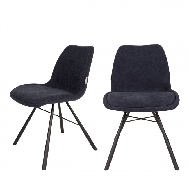 Lot de 2 chaises tissu Brent Zuiver Bleu marine