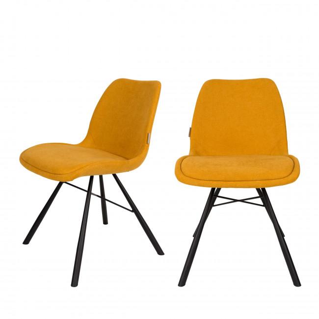 Lot de 2 chaises tissu Brent Zuiver Jaune moutarde