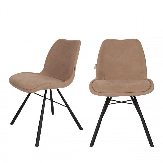 Lot de 2 chaises tissu Brent Zuiver Beige