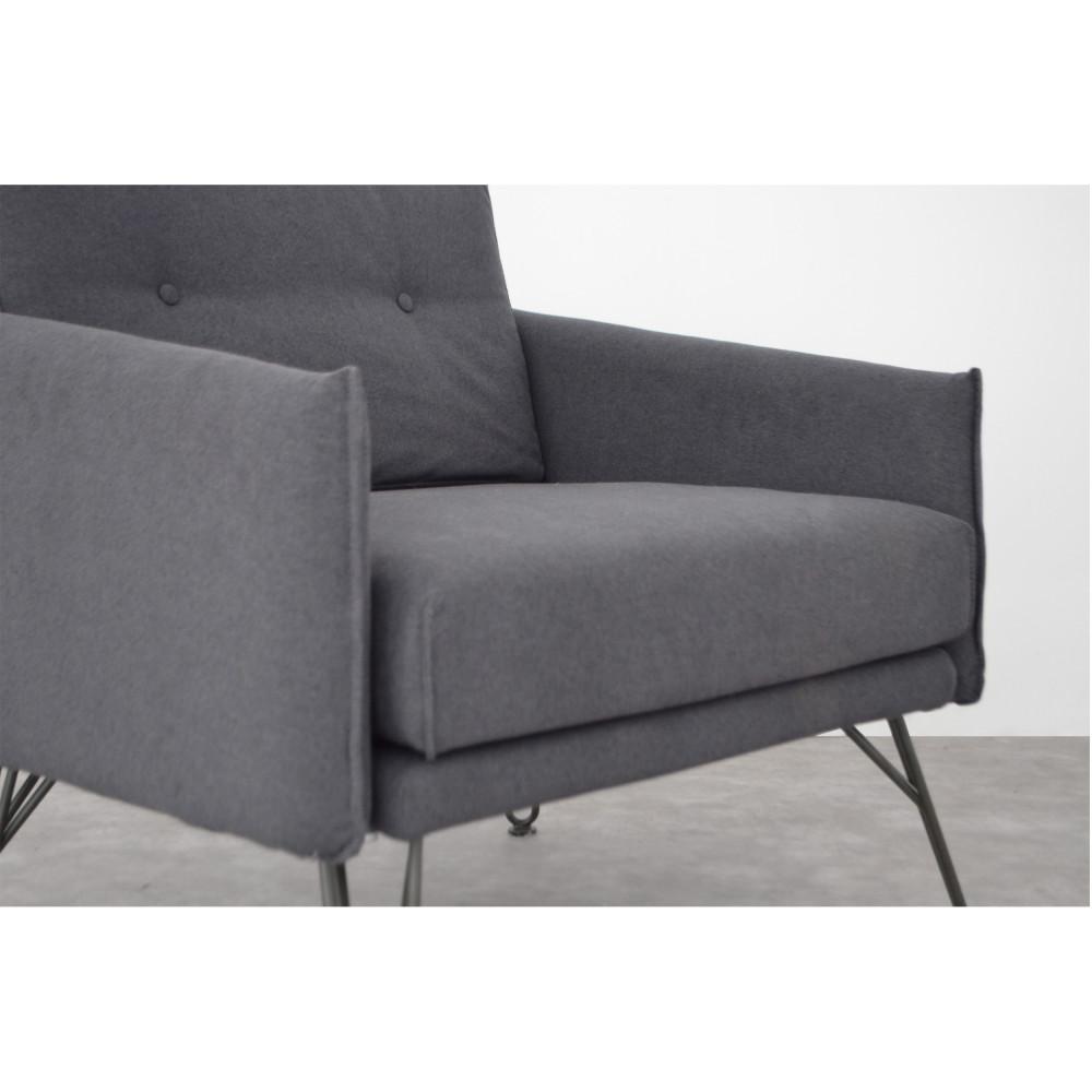 fauteuil design tissu gris burton by drawer. Black Bedroom Furniture Sets. Home Design Ideas