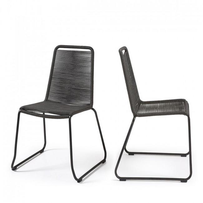 Lot de 2 chaises de jardin vintage métal et corde Amirah