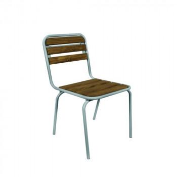 Chaise vintage bistro blanche et bois Ari de profil