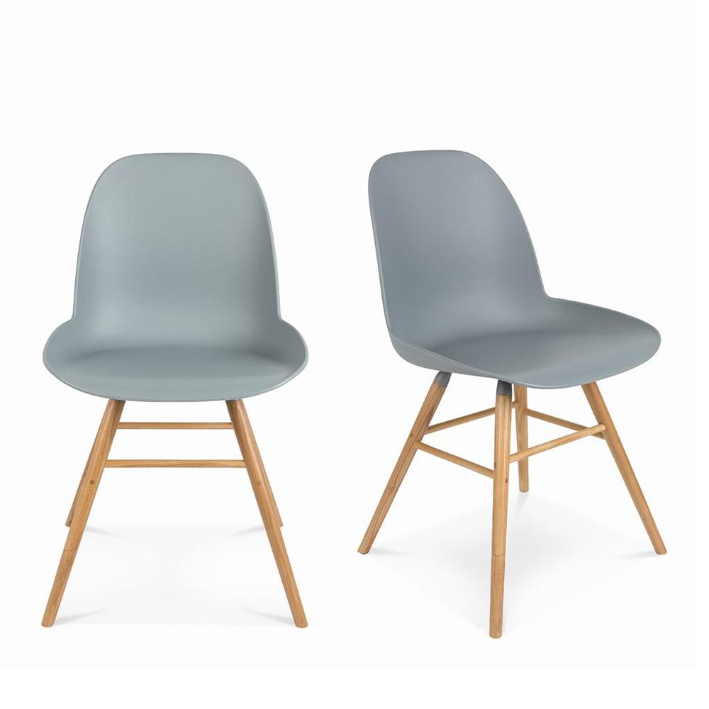 Lot de 2 chaises r sine et bois albert kuip zuiver - Chaises blanc et bois ...