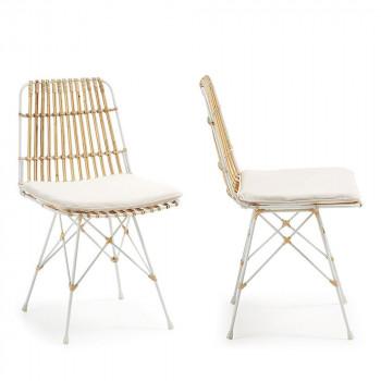 Lot de 2 chaises scandinaves rotin et métal blanc Ainisa