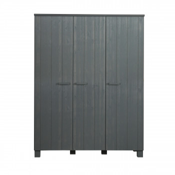 Armoire pin brossé 3 portes Denis Anthracite