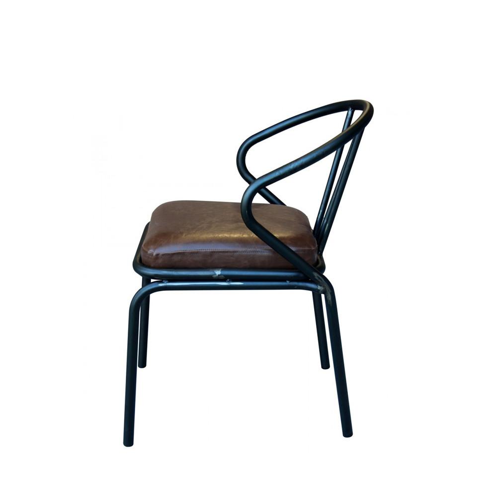 chaise vintage m tal simili cuir waldorf par. Black Bedroom Furniture Sets. Home Design Ideas