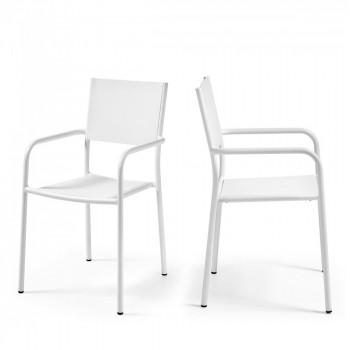 2x fauteuils de jardin design aluminium blanc Leday