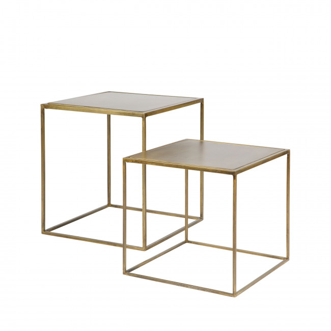 Lot de 2 tables basses gigognes en laiton Aes