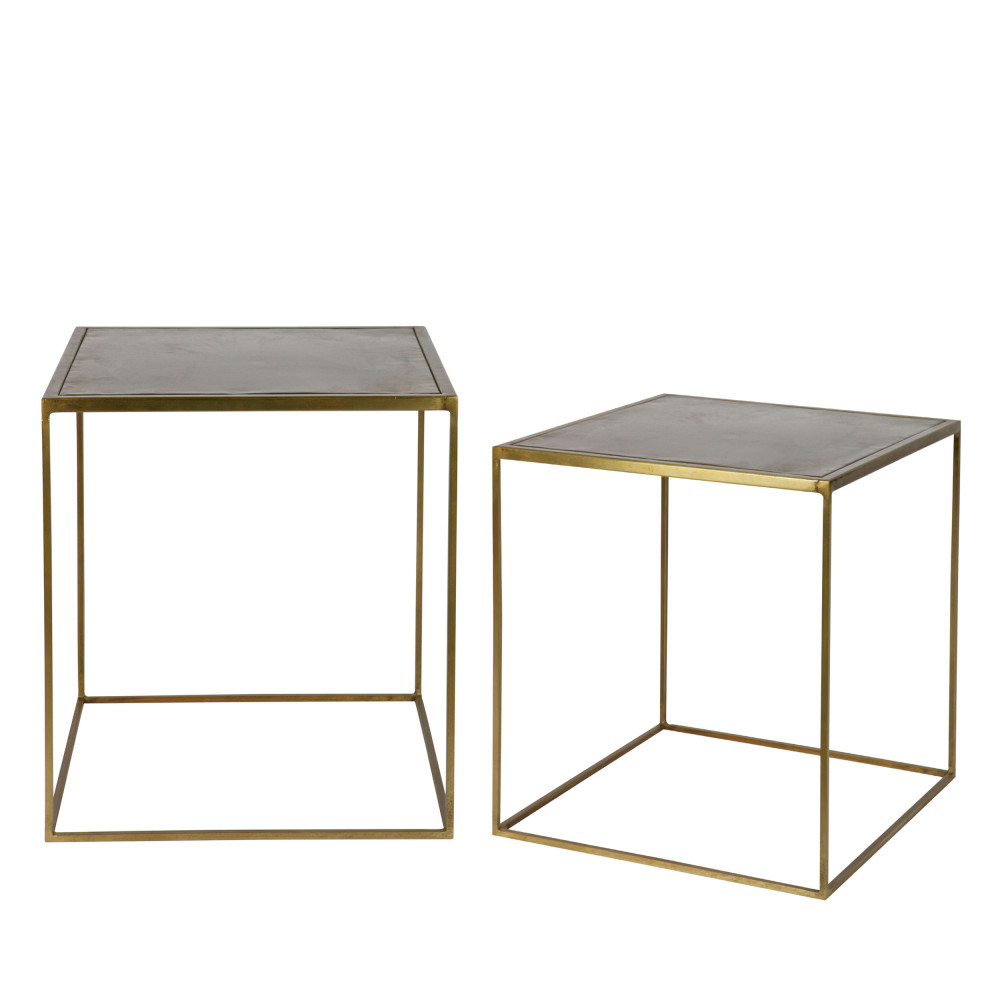 lot de 2 tables basses gigognes effet laiton aes drawer. Black Bedroom Furniture Sets. Home Design Ideas