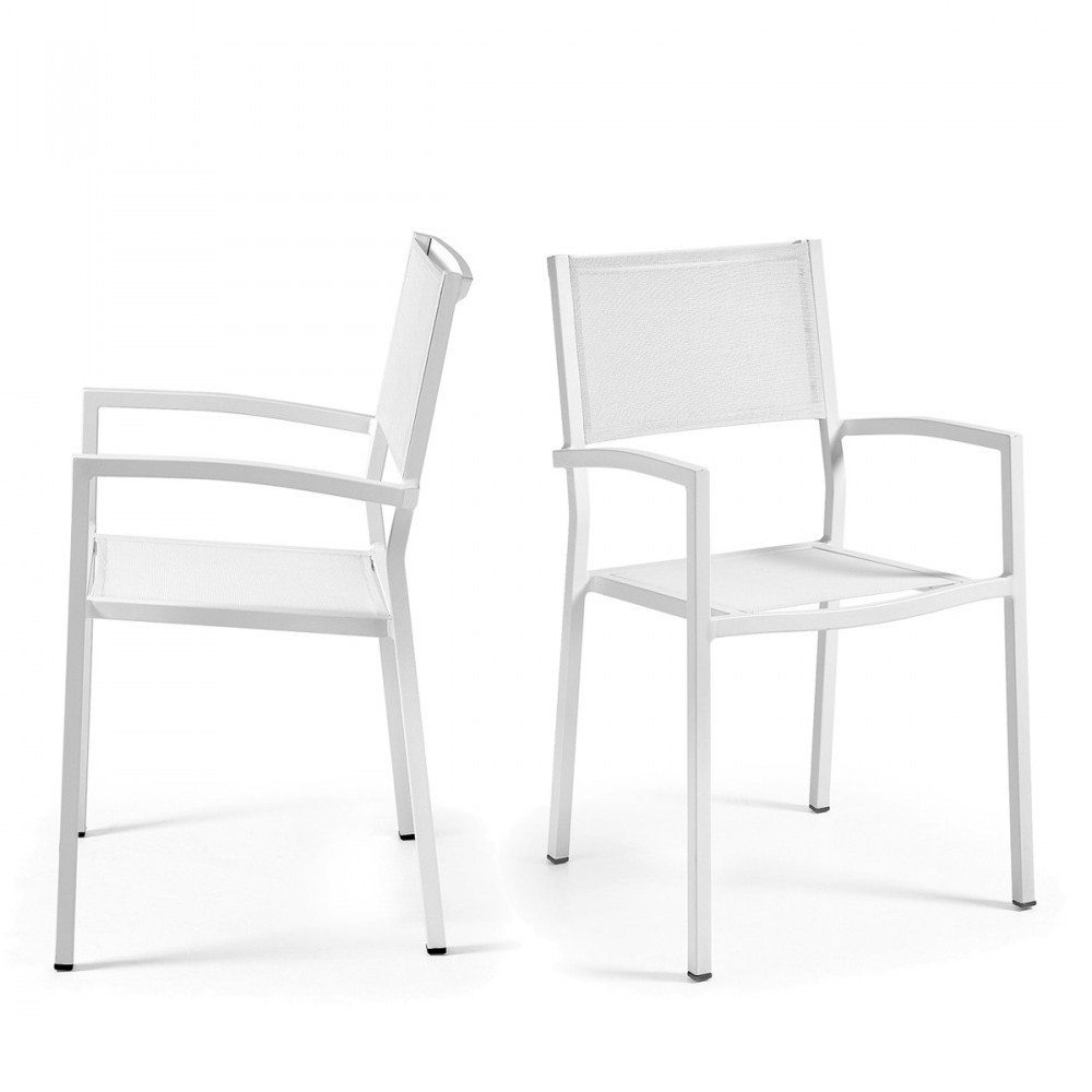 fauteuil de jardin en aluminium blanc et polyester naysha. Black Bedroom Furniture Sets. Home Design Ideas