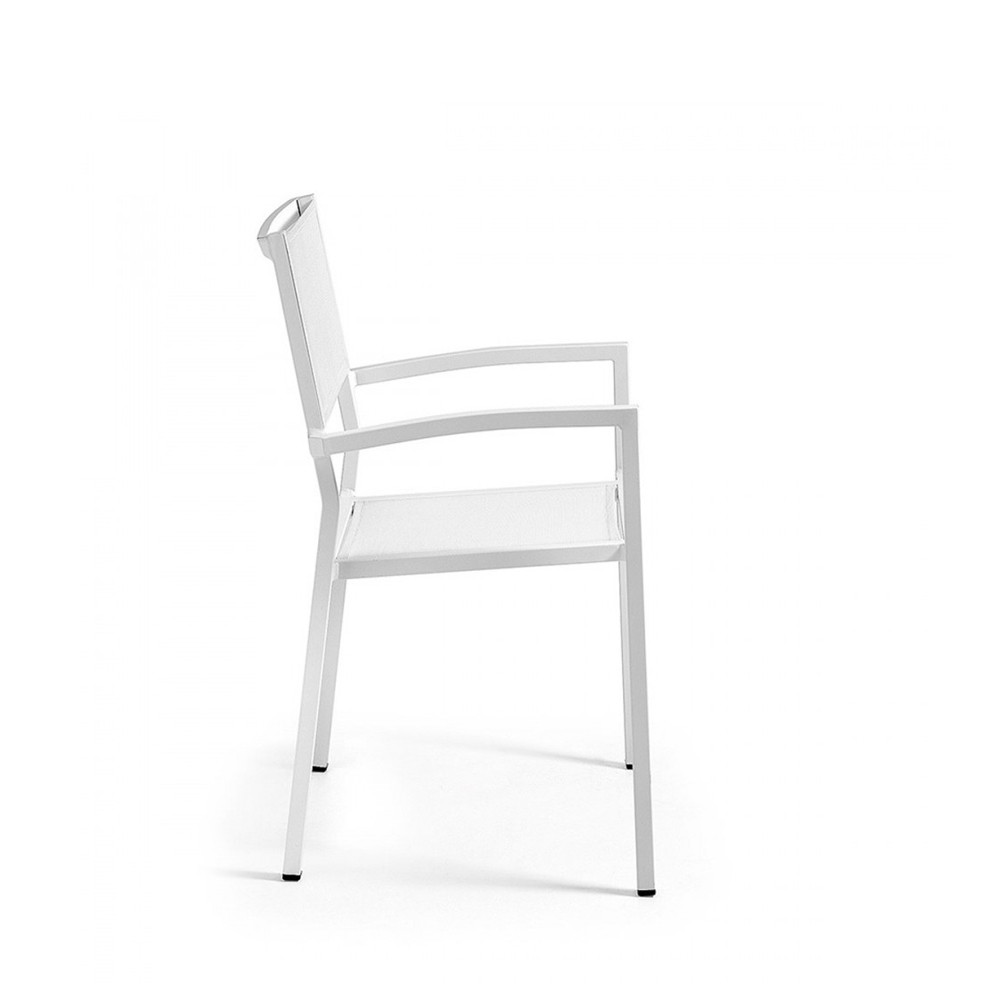 fauteuil de jardin en aluminium blanc et polyester naysha. Black Bedroom Furniture Sets. Home Design Ideas