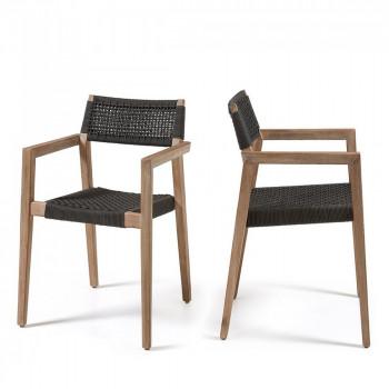Lot de 2 fauteuils de jardin bois et corde Vetter