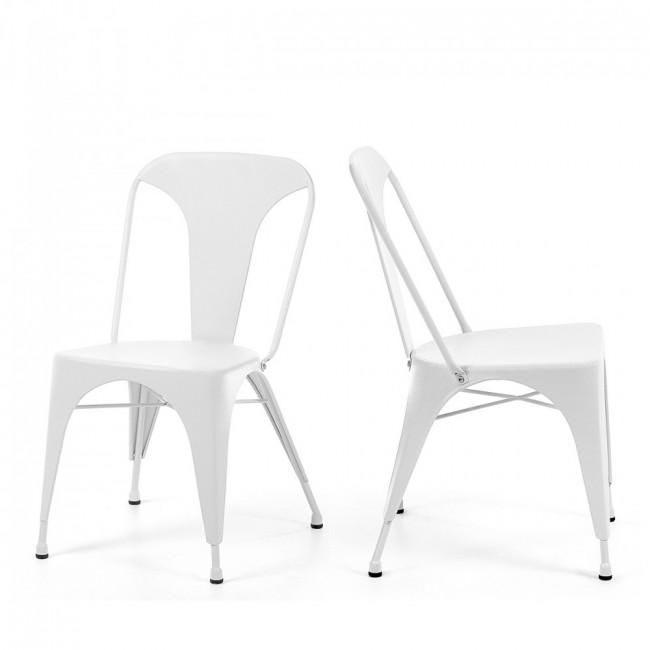Lot de 2 chaises industrielles métal bleu Mali