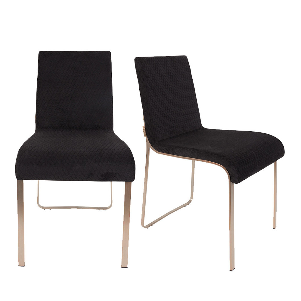 lot de 2 chaises vintage tissu et m tal flor. Black Bedroom Furniture Sets. Home Design Ideas