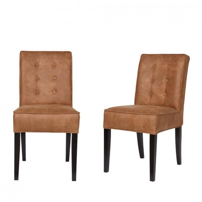 Lot de 2 chaises vintage marron Fleur