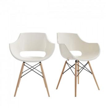 chaise design skoll blanche et pieds bois - Soldes Chaises