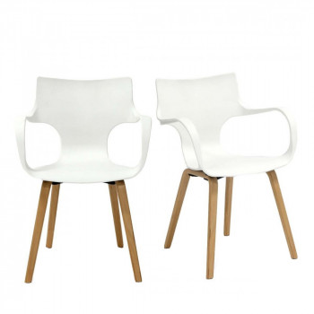 Lot de 2 chaises design Rockwood blanches
