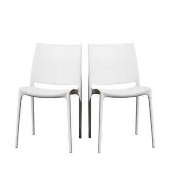 Lot de 2 chaises design Tessa blanche