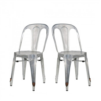 Lot de 2 Chaises Strong galva grise