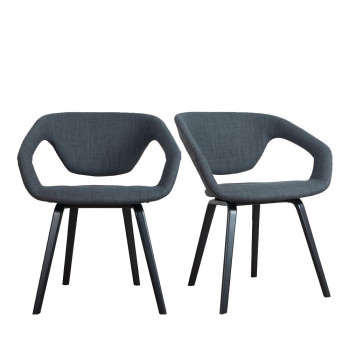 Lot de 2 fauteuils design Flex back Black noir