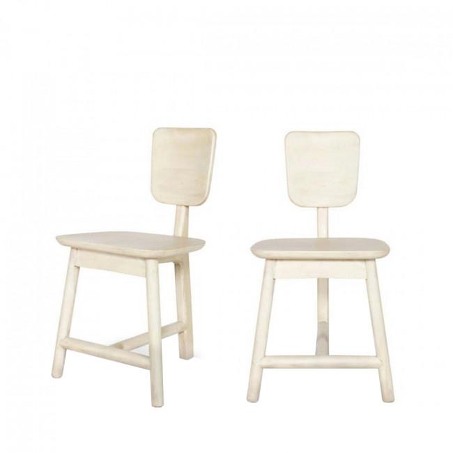 Lot de 2 chaises 3 pieds en bois naturel Roost