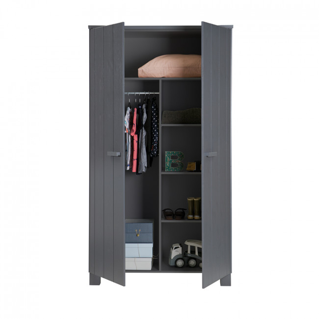 Armoire 2 portes en pin gris anthracite Denis