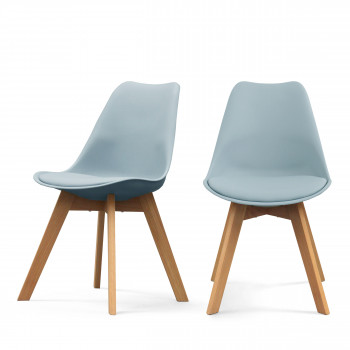Lot de 2 chaises design Ormond Log bleu