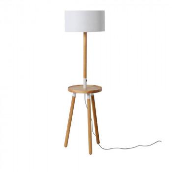 Lampadaire tripod chargeur smartphone bois et blanc Talos de Drawer