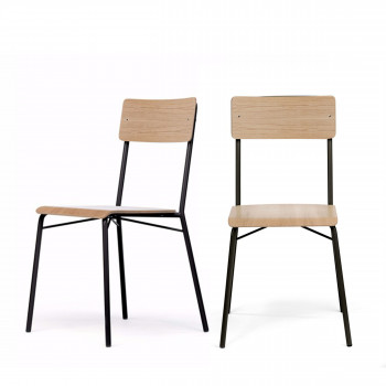 Lot de 2 chaises design en bois Ashburn