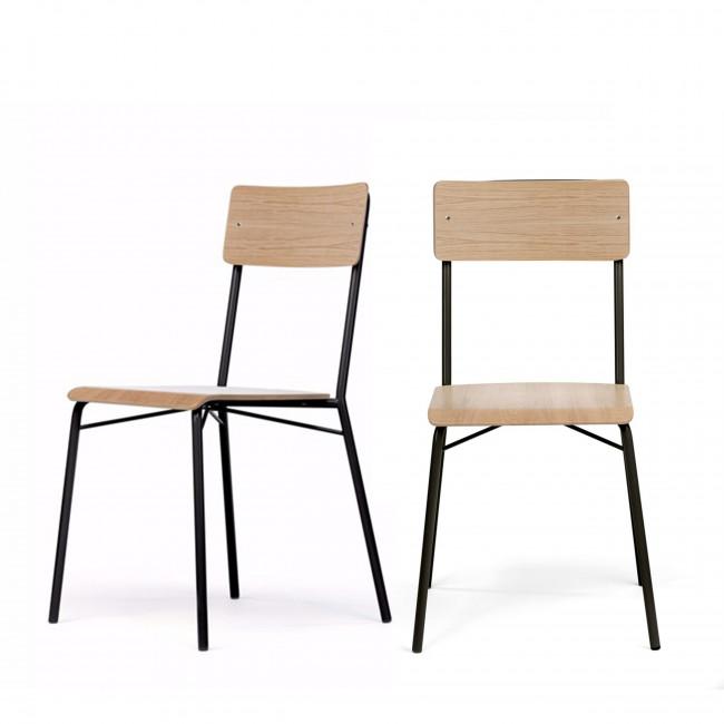Lot de 2 chaises design en bois Ashburn
