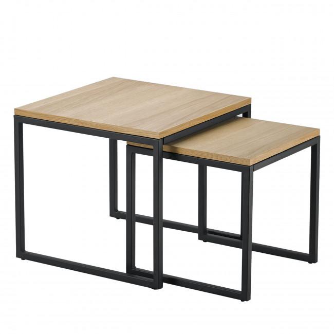 Set de 2 tables basses gigognes bois et métal Temmelig