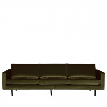 Grand canapé 3/4 places en velours Velvet Bronco Gris