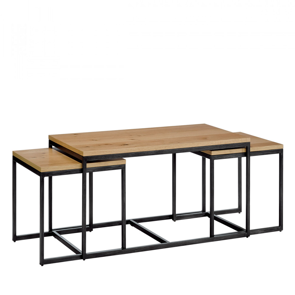 lot de 3 tables gigognes temmelig drawer. Black Bedroom Furniture Sets. Home Design Ideas