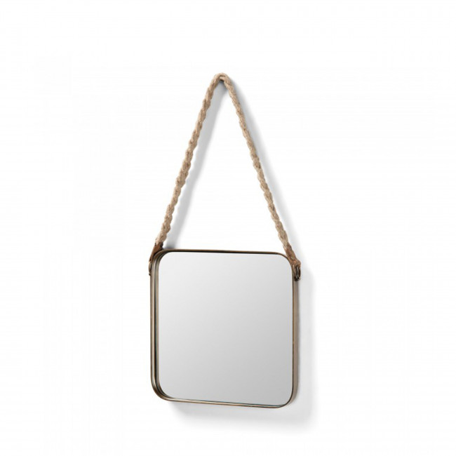 Miroir carré laiton anse corde Step