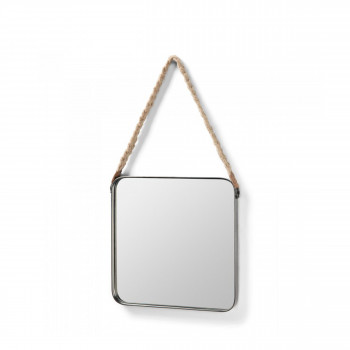 Miroir carré étain anse corde Step