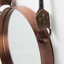 Miroir rond cuivre anse corde Stiel