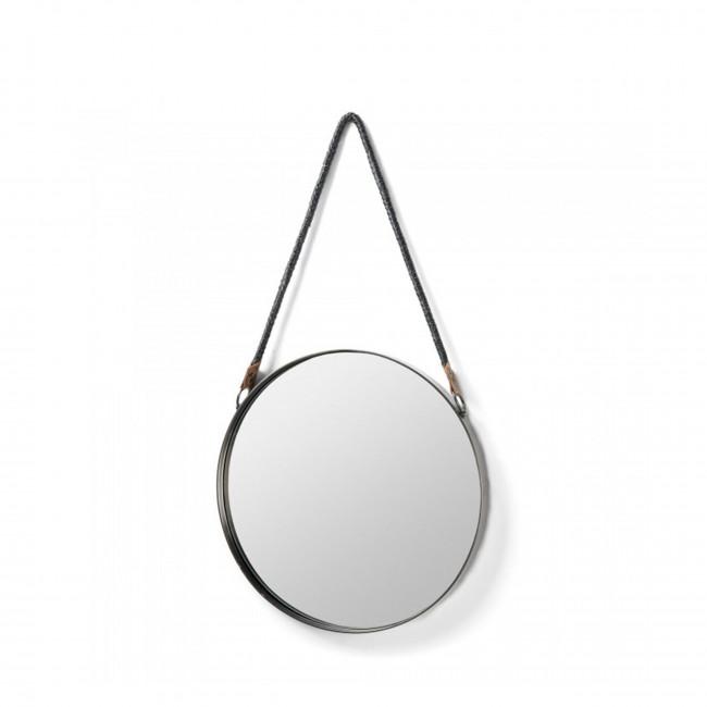 Miroir rond étain anse corde Stiel