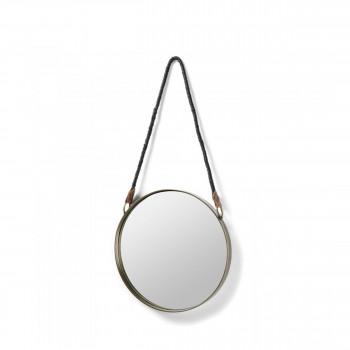 Miroir rond laiton anse corde Stiel