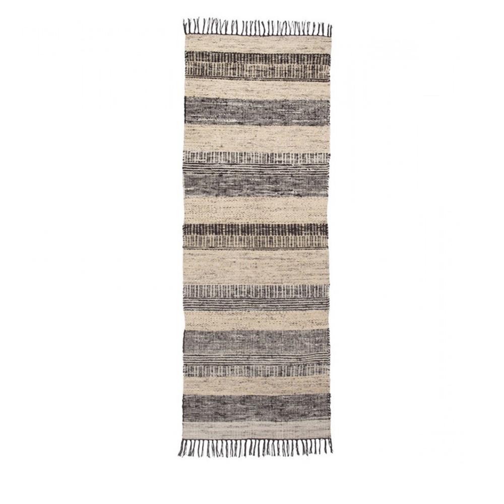 tapis couloir vintage noir et blanc fox 80x200 - Tapis Couloir