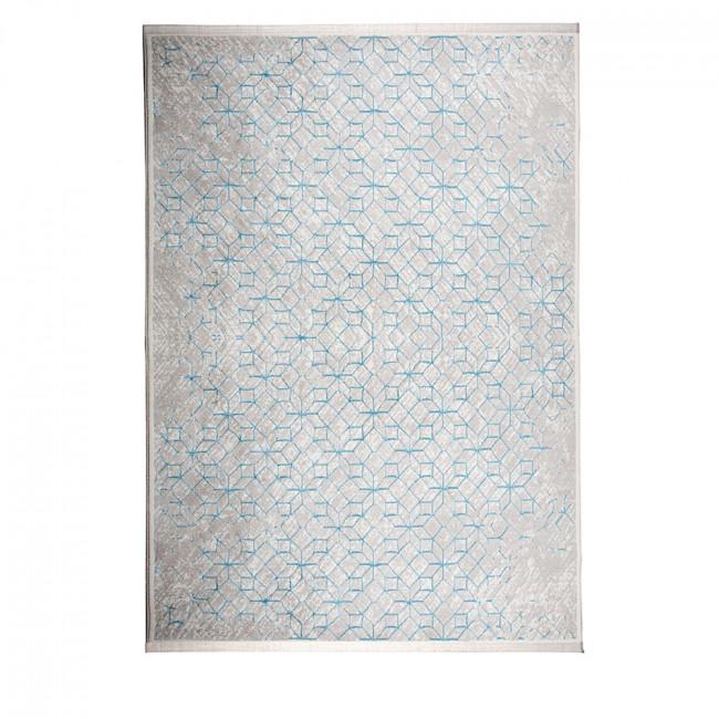 Tapis motifs géométriques bleu et blanc Yenga Zuiver