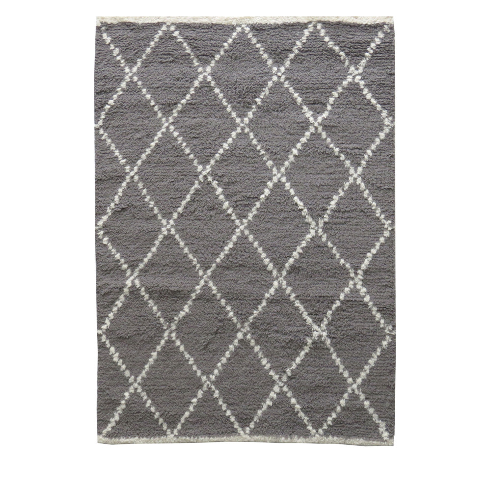Tapis Marocain Style Berbère 100 Laine Grise By Drawer