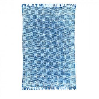 Tapis en coton indigo tissé main Tikola