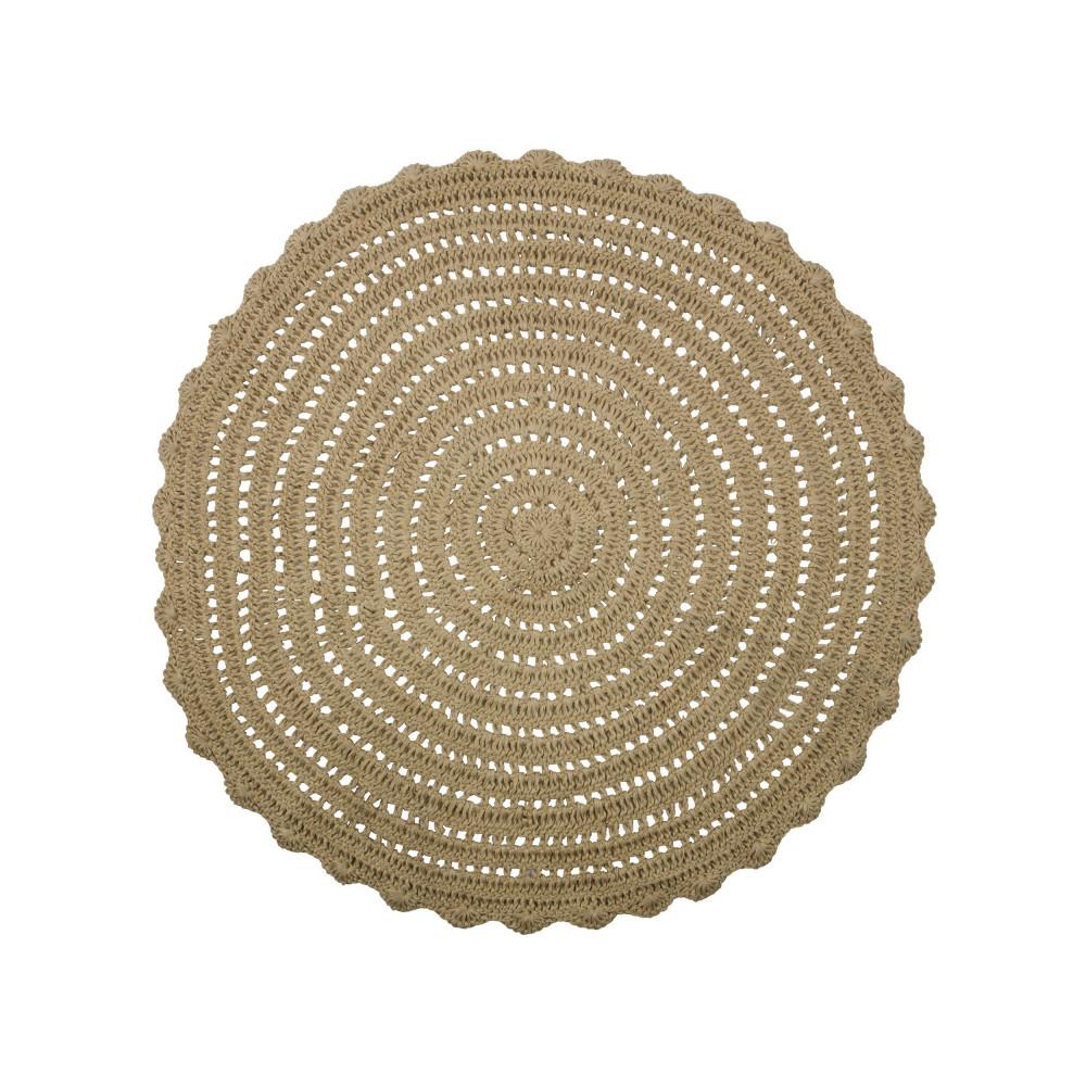 tapis rond en crochet beige corn drawer. Black Bedroom Furniture Sets. Home Design Ideas