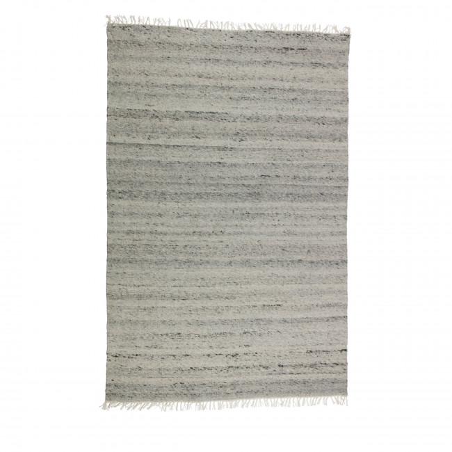 Tapis rayé en laine et coton gris Fields