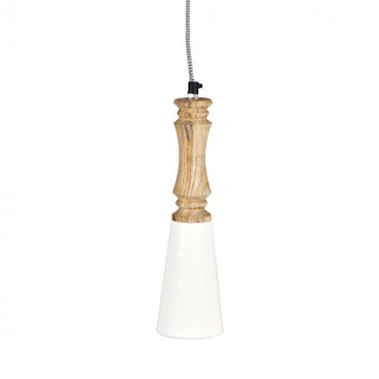 Suspension métal bois blanc Candlestick