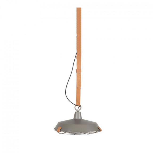 Suspension en métal laqué blanc et cuir brun Dek 40