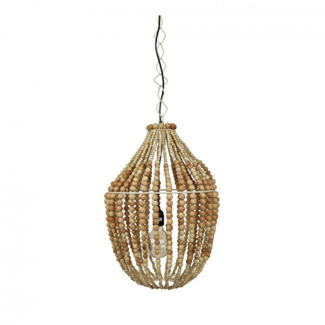 Suspension design perles de bois naturel L Funale