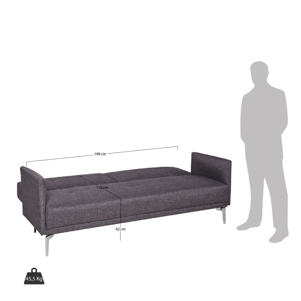 Canape Convertible Gris Anthracite 3 Places By Drawer